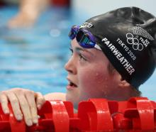 Erika Fairweather in the pool at the Tokyo Aquatics Centre yesterday. Photo: Getty