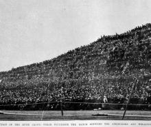 A section of the huge crowd which witnessed the match between the Springboks and Wellington on...