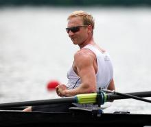 Hamish Bond takes a breather after winning gold in the men's rowing eight at the Tokyo 2020 Games...