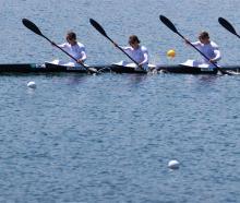 The New Zealand team of Lisa Carrington, Alicia Hoskin, Caitlin Regal and Teneale Hatton in...
