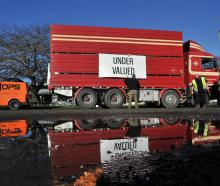 A truck parks up at a Groundswell protest at Gore last month. PHOTO: GERARD O'BRIEN