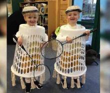 Harry and Jake James, both 3, were stoked with their costume after their father Andy dressed them...