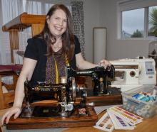 Cushla O'Connell with her grandmother's Singer. Photo: Geoff Sloan