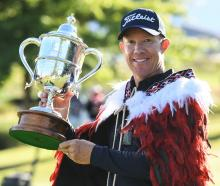 Australia's Brad Kennedy, winner of the 2019 NZ Open, with the Brodie Breeze Trophy. PICTURE:...