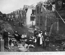 Damage inflicted on a residential street of Oppau, Germany, following an explosion at the nearby...