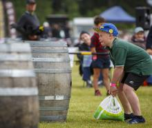 Ethan Greenwood taking part in the Junior Warriors competition at last year's Hororata Highland...