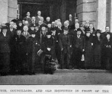 Invercargill Borough Council mayor, councillors and old identities in front of the Invercargill...