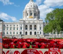 Memorial to the missing and murdered Indigenous women of America at the capitol in St. Paul,...