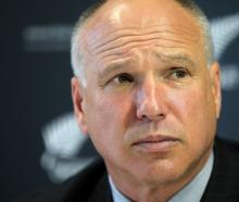 New Zealand Cricket CEO David White speaks to the media during a press conference in Auckland...