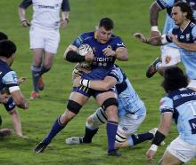 Otago No 8 Dylan Nel battles on amid a sea of opposition Northland players in the sides' NPC...