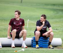 Matt Hay (right) talks to Will Williams during a training session with the Canterbury Kings....