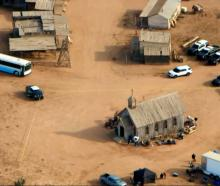 An aerial view of the film set on Bonanza Creek Ranch where Hollywood actor Alec Baldwin fatally...