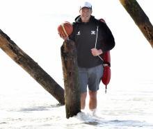 Otago Nuggets coach Brent Matehaere takes a break at St Clair Beach yesterday, having taken on...