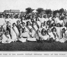A section of the girls who took part in the massed physical drill display at the public schools'...