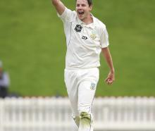 Otago skipper Jacob Duffy celebrates a wicket against Wellington in a Plunket Shield game at the...