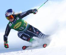 Alice Robinson completes her second run at the world cup in Soelden, Austria, yesterday. PHOTO:...