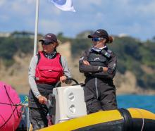 Dunedin sailor Jenny Armstrong (left) with Rosie Chapman, the woman she is replacing in a...