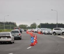 The Orchard Rd testing station near Christchurch Airport was full of cars on Thursday morning....