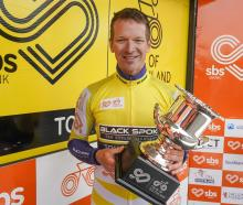 Aaron Gate after winning the final stage of the Tour of Southland in 2020. Photo: James Jubb