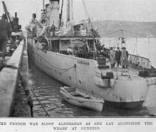 French naval sloop Aldebaran alongside Dunedin wharf. — Otago Witness, 1.11.1921
