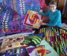 Christchurch Quilters president Maria Rohs with her 'vivid' themed quilt. Photo: Geoff Sloan
