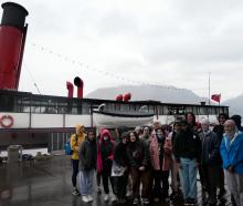 A group of young Muslim women, as part of a Wahine Toa programme, get ready to board the TSS...
