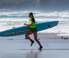 Sophie Matehaere (St Clair) competes in the White Island race on Saturday. PHOTOS: KIM LLOYD