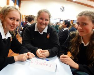 Geraldine High School pupils (from left) Jessica Stephens (14), Sian Boase (13) and Lydia Burnett...