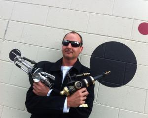 Artist Sean Boyd, armed and imaginative.