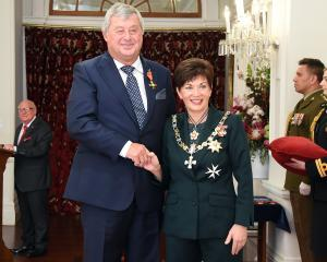Allied Press co-owner and director Nicholas Smith, of Dunedin, receives his ONZM, for services to...