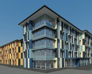 An artist's impression of the Otago Polytechnic Student Village being built in Union St. Image:...