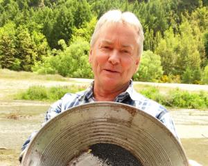Justin Eden, of Arrowtown, shows how nuggets of gold can be spotted while panning. Photos by Louise Scott.