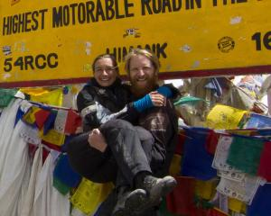 Dunedin travellers Stephen Hogg and Celia Neilson at the top of the Khardung La Pass in India....