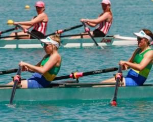 Macaela Turfus and Stella Blake row for the Dunstan Arms Rowing Club in the under-19 double...