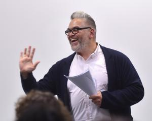 Burns Fellow Victor Rodger gives his final play reading for the year at the Dunedin Public Art Gallery last year. Photo by Peter McIntosh.