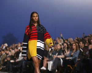 Model Joan Small wore an oversized printed knit sweater. Photo: Reuters