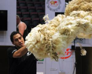 Dunedin-based woolhandler Joel Henare works his way to the World Shearing and Woolhandling...