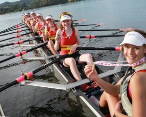 Dunstan High School's gold medal-winning under-15 octuple sculls crew. Photo: Sharron Bennett