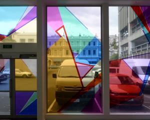Part of Shannon Novak's installation on the back wall of the Dunedin Public Art Gallery. Photo by Gerard O'Brien.