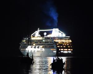And it's goodnight from us  ...  Sirena leaves Port Chalmers last night, signalling the end of...