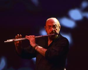 Ian Anderson plays to an enthusiastic Regent Theatre crowd in Dunedin last night. Photos by Peter McIntosh.