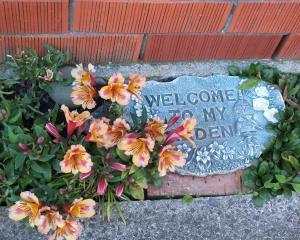 Low-growing alstromerias frame a welcome message. Photos: Gillian Vine.