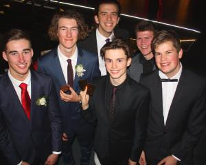 (from left) Jack Williams (17), Cory O'Regan (17), Fergus Brebner (back, 17) Daniel Regal (17) ,...