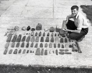 Allan Willetts with parts of the Willetts Collection soon after they were found in 1953. Photo:...