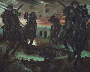Detail from The Attack of the Otago Mounted Rifles at Messines, by Matt Gauldie.  COPYRIGHT D.C....