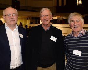 (from left) Hudson Biggs of Dunedin, Neville Horne of Wanaka and Keith Gaston of Dunedin