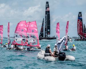 Anna Walrond, of Dunedin, in the No 3 yacht, races in the America's Cup Endeavour O'Pen Junior...