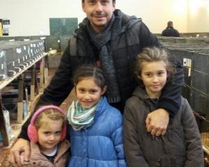 Weston's (left) Elodie (4), Amelie (6) Manon (8) with Ben Tartonne.