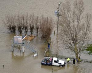 Floodwaters continue to recede on the Taieri Plain yesterday. Photos: Gerard O'Brien
