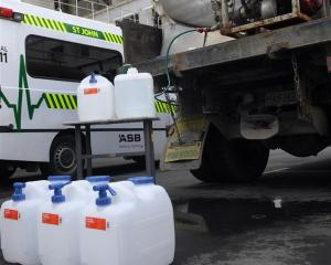 Emergency water is delivered to Dunedin Hospital yesterday. Photos: Peter McIntosh